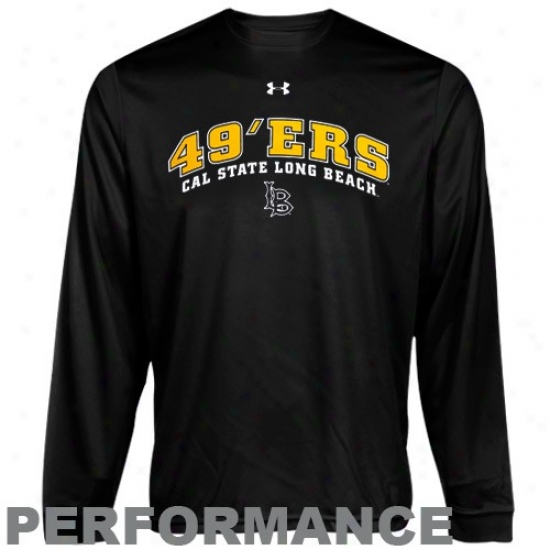 Long Beach State 49ers Tshirt : Under Armour A ~ time Beach State 49ers Blac kHeatgear Training Performancr Long Sleeve Tshirt