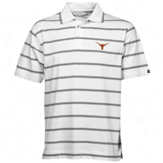 Longhorns Clothing: Cutter & Buck Longhorns White Griffiin Recess  Striped Polo