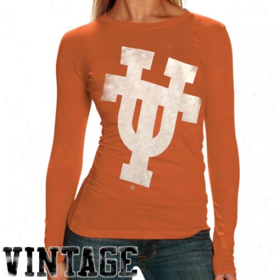 Longhorns Tees : My U Longhorns Ladies Orange Gigantor Vintage Long Sleeve Tees