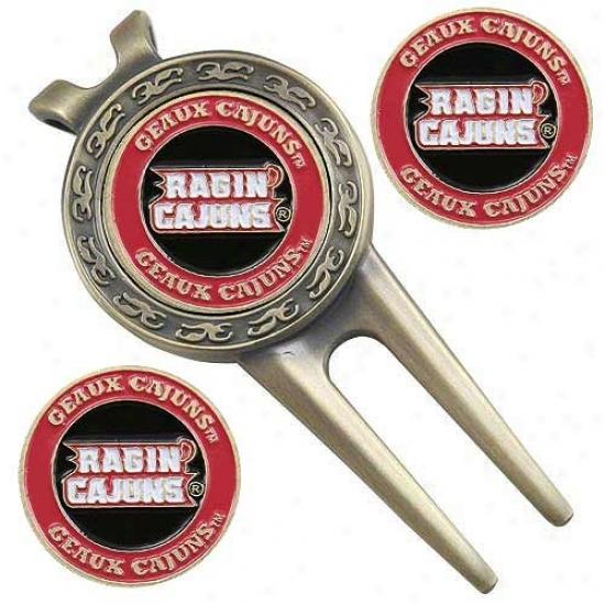 Louisiana-lafayette Ragin Cajuns Divot Tool & Ball Marker Set