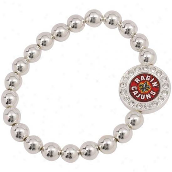Louisiana-lafayette Ragin Cajuns Round Crystal Beaded Stretch Bracelet