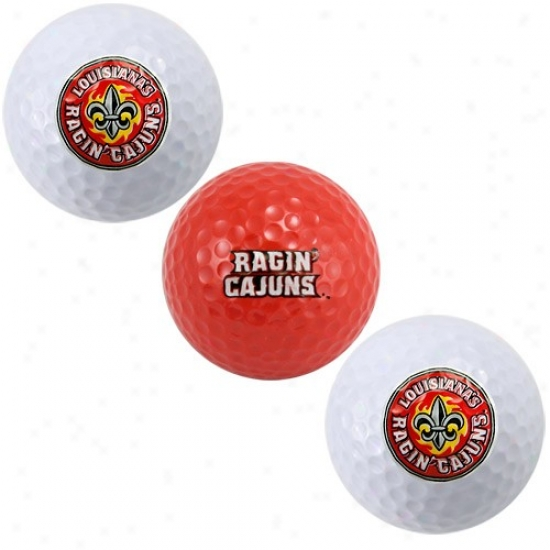 Louisiana-lafayette Ragin Cajuns Tjree Pack Of Golf Balls