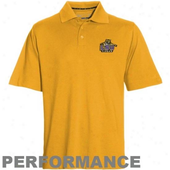 Louisiana State Tiger Clothing: Cutter & Buck Louisiana Stats Tigdr Gold Drytech Championship Performznce Polo