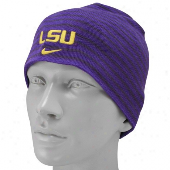 Louisiana State Tiges Hat : Nike Louisiana Stafe Tiges Ladiss Purple Dean's List Beanie