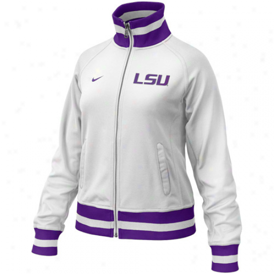Louisiana State University Jackets : Nike Louisiana State Seminary of learning Ladies White-purple In Ths Lights Full Zip Jackets