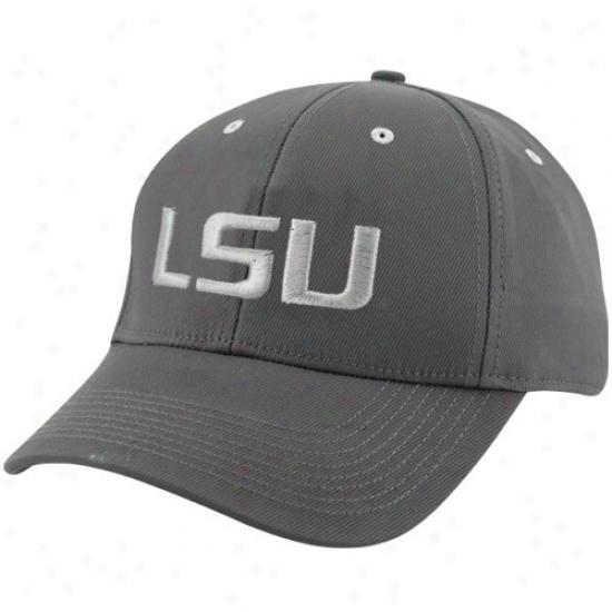 Louisiana State University Merchandise: Nike Louisiana State University Charcoal Legacy Tactile Swoosh Flex Hat