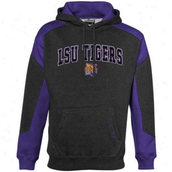 Louisiana State University Sweat Shirts : Louiqiana State University Charcoal-purple Challenger Heathered Sweat Shirts