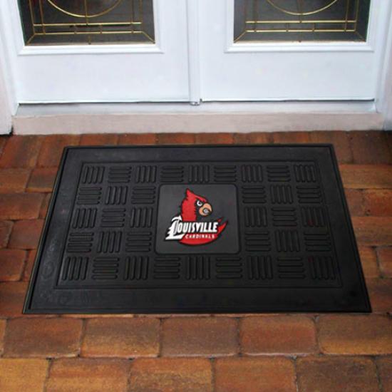 Louisville Cardinals Black Team Logo Rubber Mat