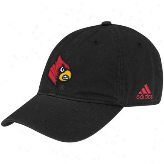 Louisville Cardinals Hat : Adidas Louisville Cardinalw Black Basic Logo Adjustable Slouch Hat