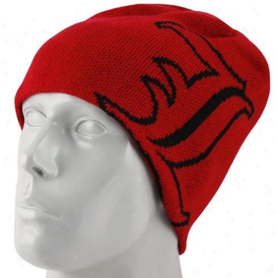 Louisville Cardinals Merchandise: Adidas Louisville Cardinals Red Wordmqrk Knit Beanie