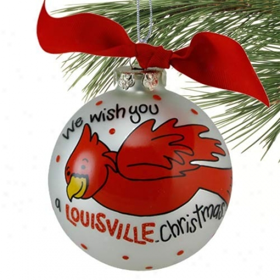 Louisville Cardinals Silver We Wish You Christmas Ornament