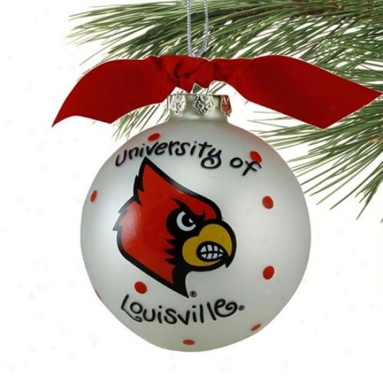 Louisville Cardinals White Team Logo Christmas Ornament