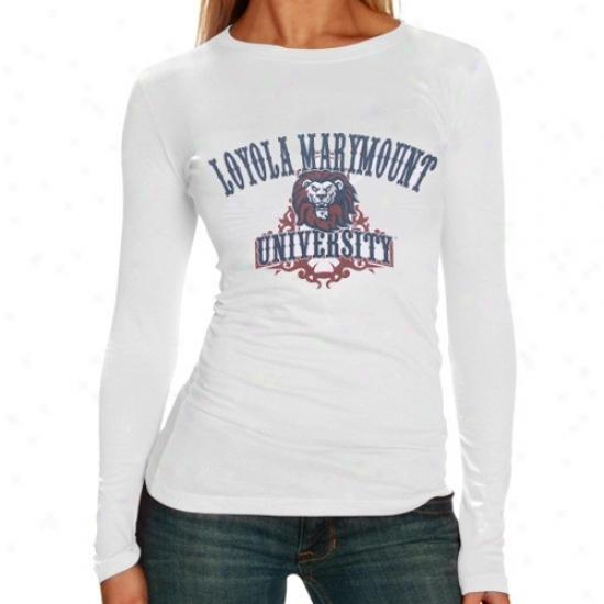 Loyola Marymount Lions Tees : Loyola Marymount Lions Ladies White Long Sleeve Super-soft Tees