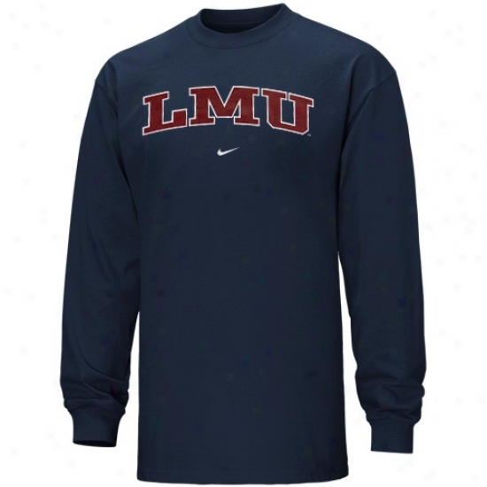 Loyola Marymount Lions Tees : Nike Loyola Marymount Lions Navy Blue Vertical Arch Long Sleeve Tees