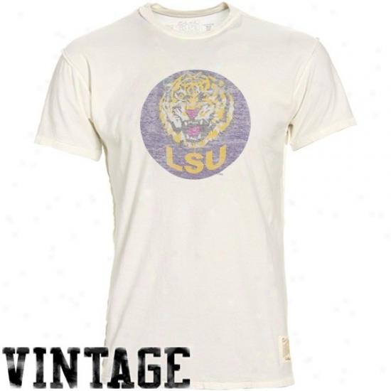 Lsu Apparel: Original Retro Brand Lsu Cream Mirrored Inside Out Vintage T-shirrt