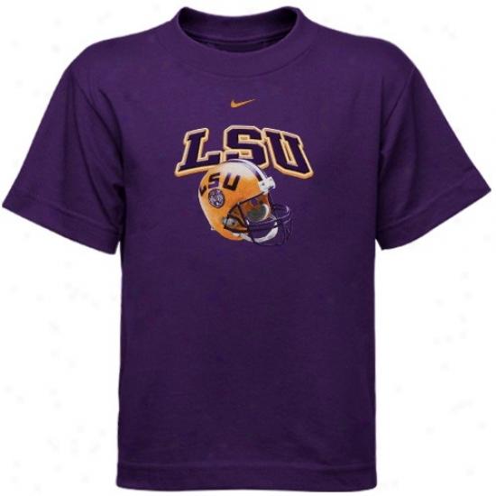 Lsu Tee : Nike Lsu Peschool Purple Arch Helmet Tee