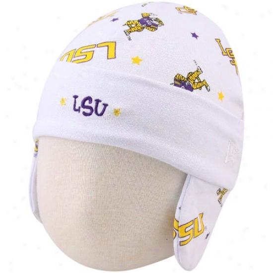 Lsu Tiger  Hat : New Era Lsu Tiger  Infant White Ski Knit Baby Beanie