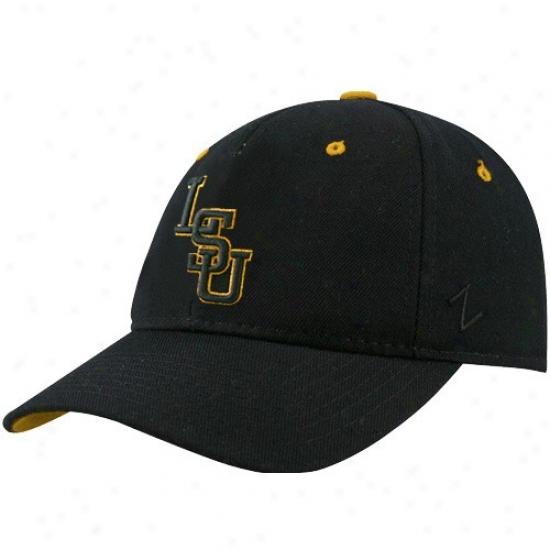 Lsu Tiger  Hat : Zephyr Lsu Tiger  Black Dh Metallic Logo Fitted Hat