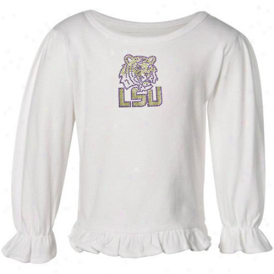 Lsu Tiger  Shirt : Lsu Tiger  Toddler White Frill Shirt