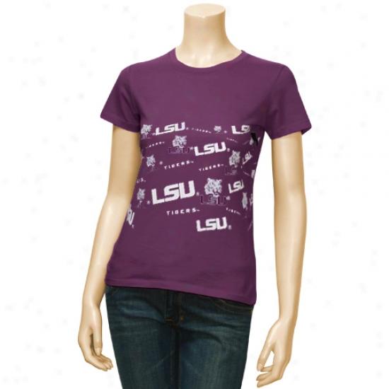 Lsu Tiger  Tee : Lsu Tiger  Purple Ladies All-over Graphic Logo Tee