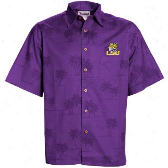 Lsu Tiger  Tees : Reyn Spooner Lsu Tiger  Purple Spooner Palms Button-up Tees