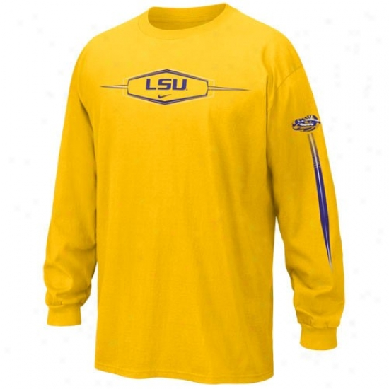 Lsu Tiger  Tshirts : Nike Lsu Tiger  Gold Favorite Fan Long Sleeve Tshirts