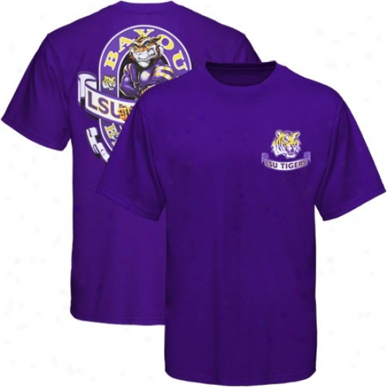 Lsu Tigers Apparel: Lsu Tiger sPurple Banner Mascot T-shirt