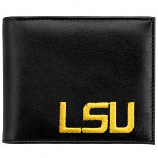 Lsu Tigers Black Leather Embroidered Billfold Wallet