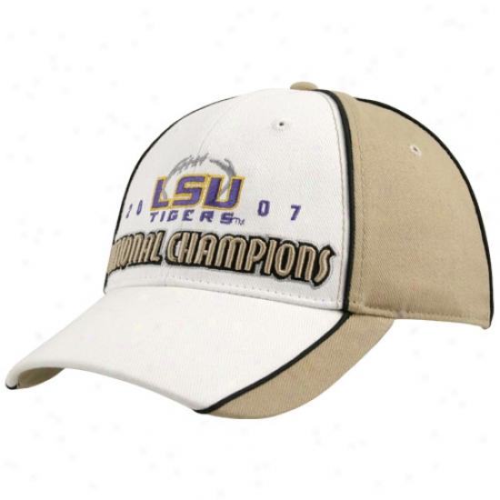 Lsu Tigers Gear: Lsu Tigdrs Khaki 2007 Nationla Champions Bodega Brushed Twill Adjustable Hat