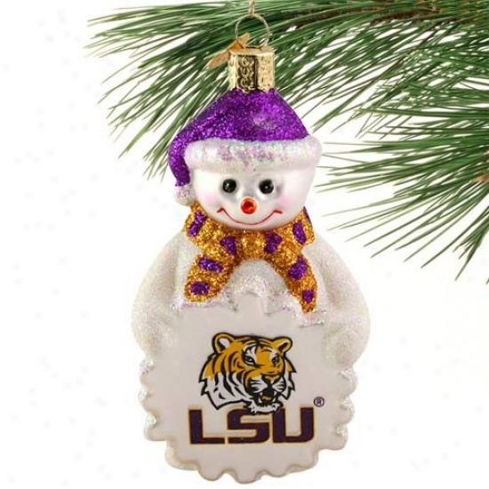 Lsu Tigers Glass Snowman Ornament