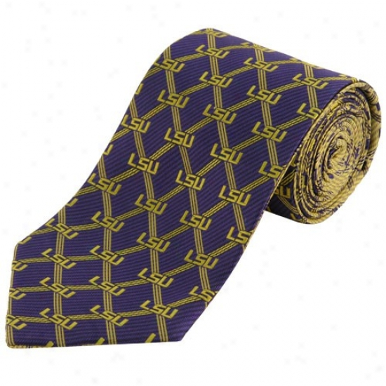 Lsu Tigers Purple-goold Home And Away Reversible Silk Necktie