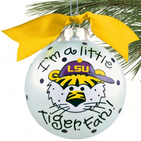 Lsu Tigers Silvery Small  Boy Fan Christmas Embellishment
