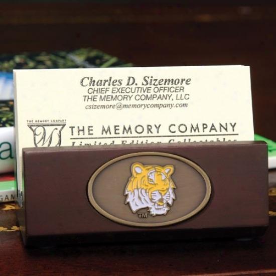 Lsu Tigers Wooden Business Card Holder