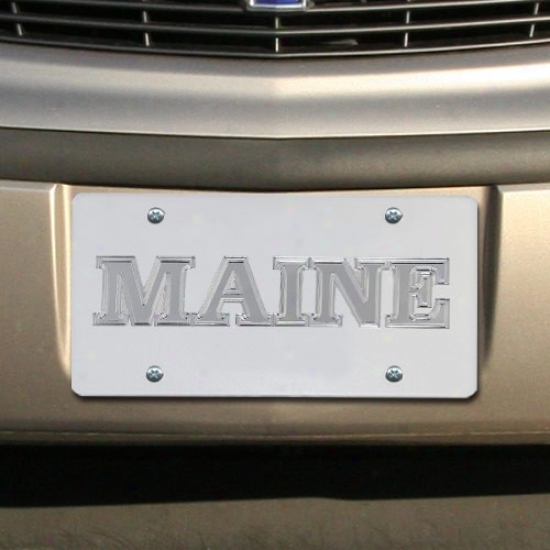 Maine Black Bears Satin Murrored Team Logo License Plate