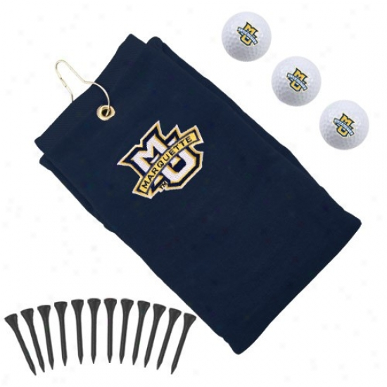 Marquette Golden Eagles Ships Blue Embroidered Golf Towel Gift Set