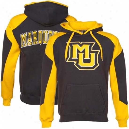 Marquette Auspicious Eagles Stuff: Marquette Golden Eagles Navy Blue-gold Challenger Hoody Sweatshirt