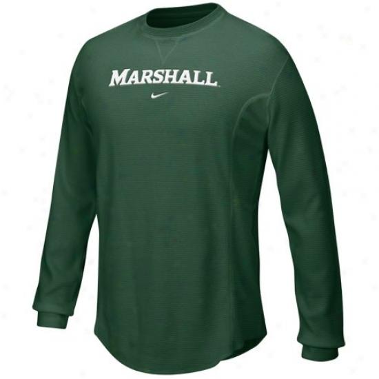 Marshall Thundering Herd Attire: Nike Marshall Thundering Herd Green Waffle Long Sleeve Crew Top