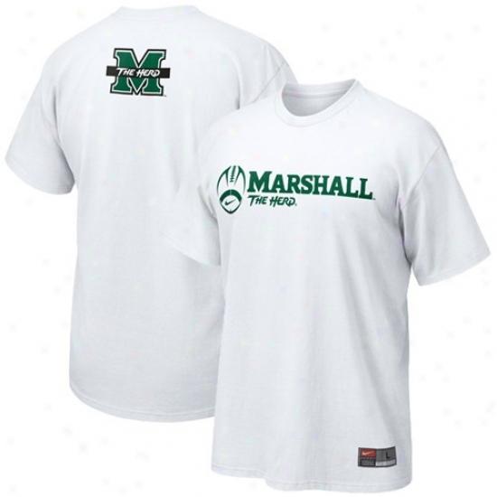Marshall Thundering Herd T-shirt : Nike Marshall Thundering Herd White Practice T-shirt