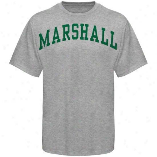 Marshall hTundering Herd Tshirt : Marshall Thundering Herd Youth Ash Arched Tshirt