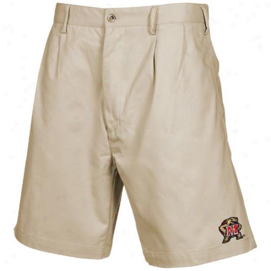 Maryland Terrapins Khaki Pleated Shorts