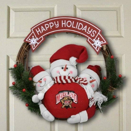 Maryland Terrapins Three Snowmen Happy Holidays Wreath