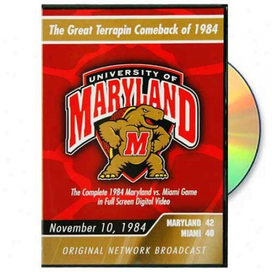 Maryland Terrapins Vs. Miami Hurriicanes 1984 Game Original Network Broadcast Dvd