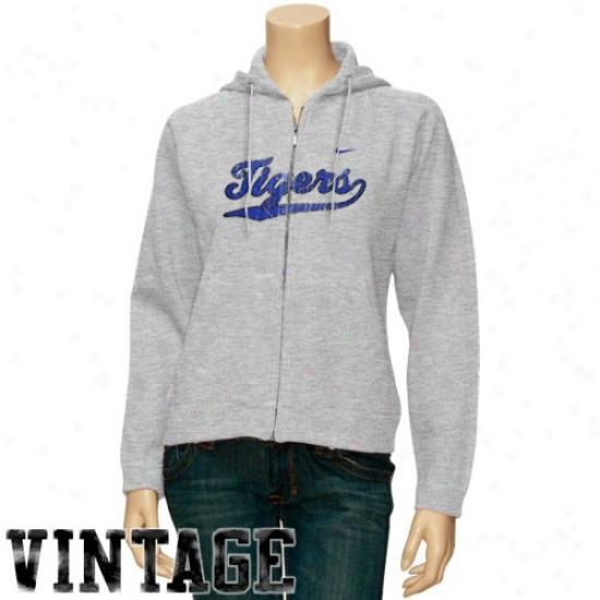 Memphis Tigers Stuff: Nike Memphis Tigers Ladies Ash Vibttage Classic Full Zip Hoody Sweatshirt