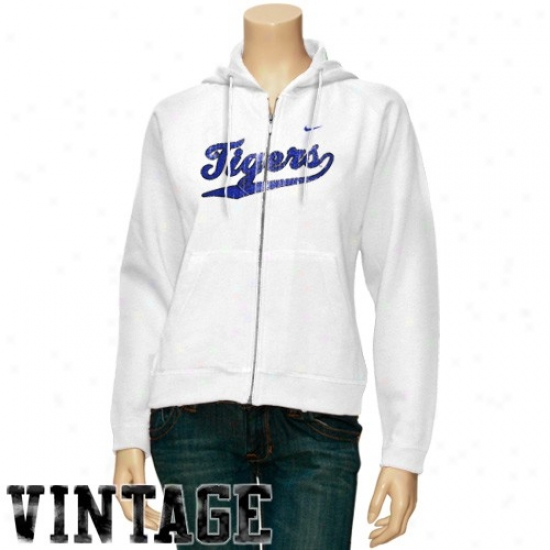 Memphis Tigers Sweat Shirts : Nike Memphis Tigers White Vintage Classic Fll Zip Sweat Shirts