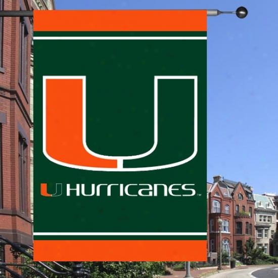 """miami Canes Banner : Miami Canes Green 28"""" X 40"""" Banner Banner W/split """"u"""""""