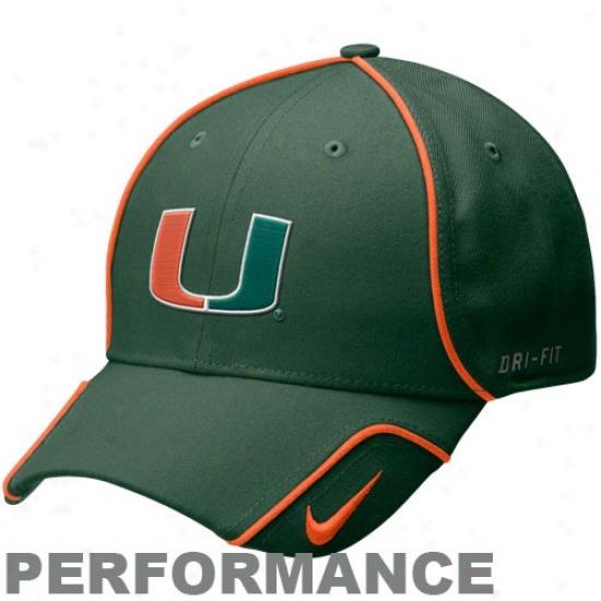 Miami Canes Cap : Nike Miami Canes Green 2010 Coaches Performance Adjustable Cap