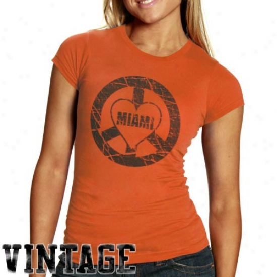 Miami Canes Tees : Miami Canes Ladies Orange Peace And Loce Vintage Tees