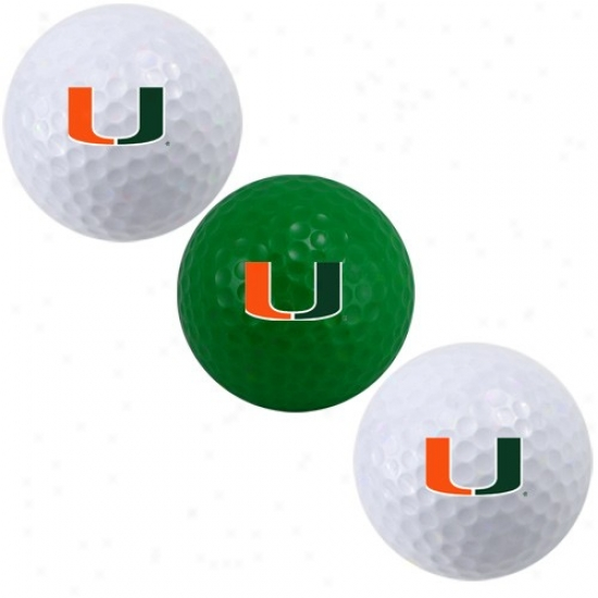 Miami Hurricanes 3-pack Golf Balls