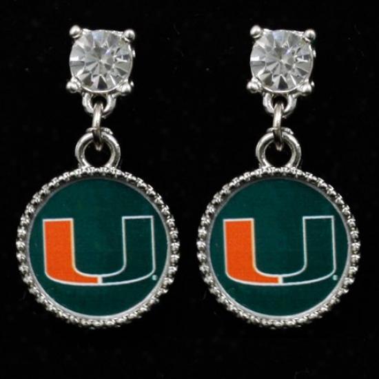 Miami Hurricanes Crystal Stud Dangle Earrrings