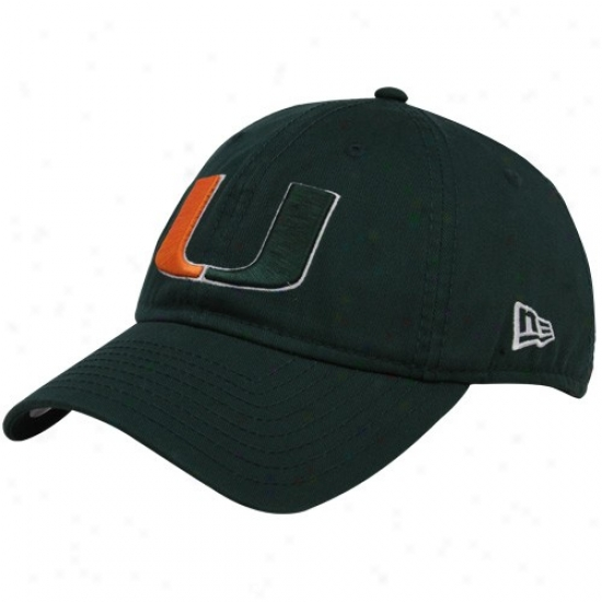 Miami Hurricanes Gear: New Era Miami Hurricanes Green Gw 920 Adjustable Hat